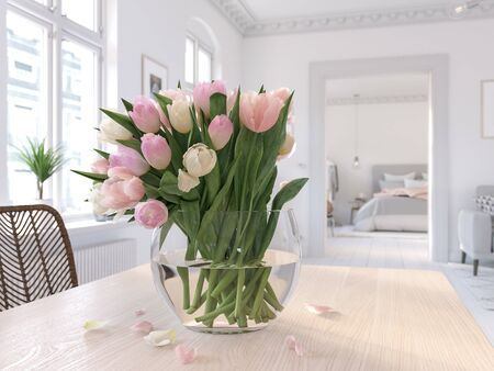 3D-Illustration. table with tulips in modern living room 版權商用圖片