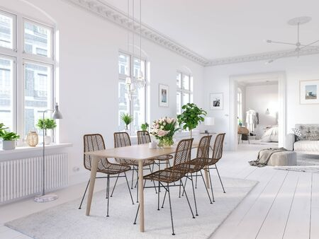 3D-Illustration. modern living room in bright new apartment. lifestyle Banco de Imagens - 140045310