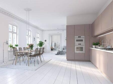 3D-Illustration of a nordic kitchen in modern aparment 版權商用圖片