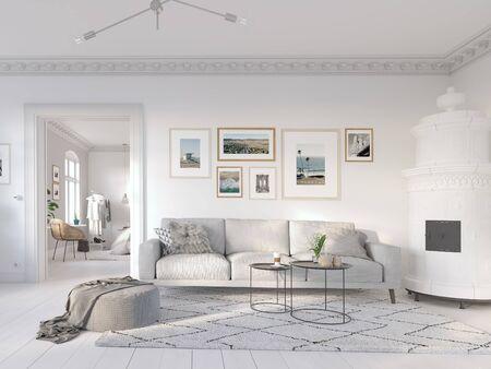 3D-Illustration. modern living room in bright new apartment. lifestyle Banco de Imagens - 140582442