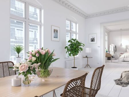 3D-Illustration. modern living room in bright new apartment. lifestyle Banco de Imagens - 140582460