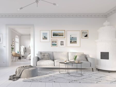 3D-Illustration. modern living room in bright new apartment. lifestyle 스톡 콘텐츠 - 141007269