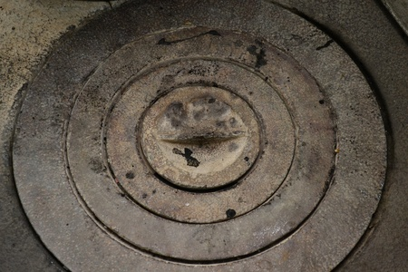 untidily: a furnace plate