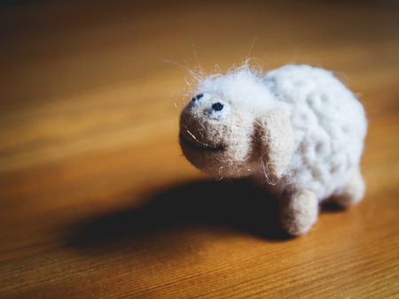 Miniature needle felted sheep, wool handmade toy
