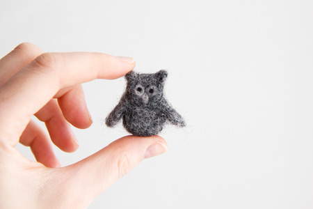 Miniature needle felted owl, wool handmade toy