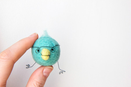 Miniature needle felted baby bird, wool handmade toy