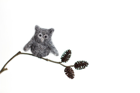 Miniature needle felted owl, wool handmade toy photo