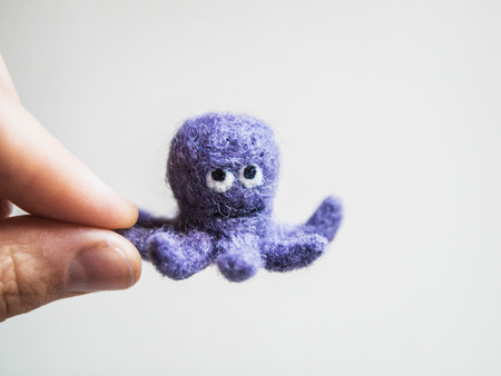 Miniature needle felted octopus, wool handmade toy