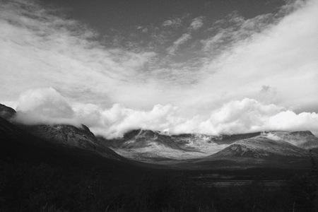 Black and white view of Khibiny mountains in Russia photo