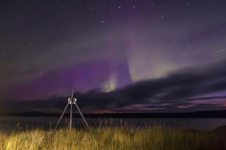 aurora borealis: Night at the White sea, Karelia, Russia