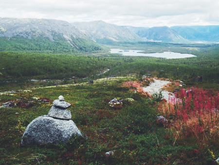 cairn: Cairn in Khibiny mountains in Russia