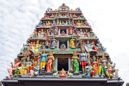 Closeup of Sri Mariamman Hindu Temple