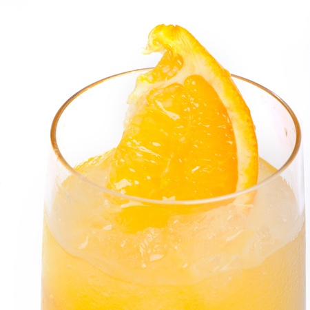 Refreshing cold lemon Cocktail against a white background photo