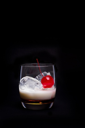 white russian: White Russian Cocktail - isolated on black