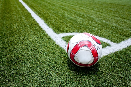 Soccer ball on the stadium  Stock Photo