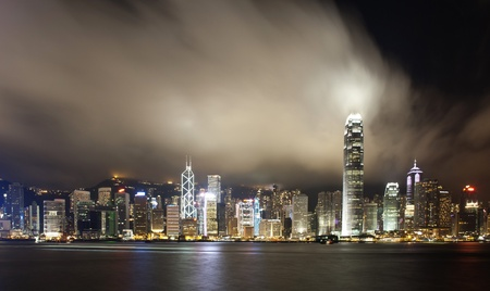 Hong Kong city night view panorama