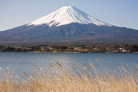 Beautiful Mount Fuji with lake, japan photo