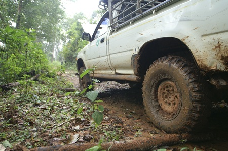 off track: Closeup of 4x4 car driving uphill with mud