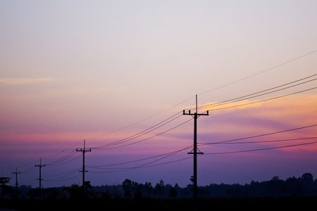 Electricity post on early morning Stock Photo - 15205796