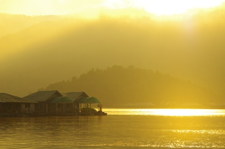 The floating Hut in dam lake Chiang Mai, Thailand photo