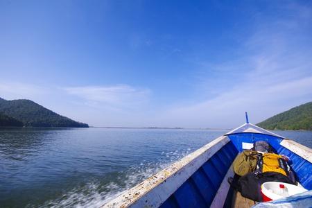 bow window: Blue sea boat sailing