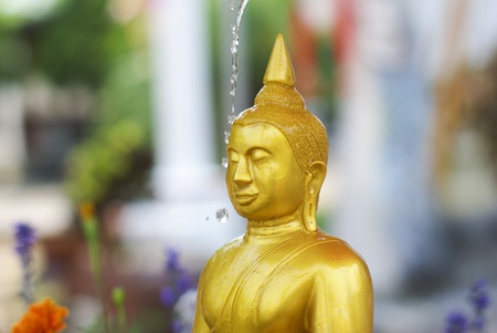 water pouring to Buddha statue in Songkran festival tradition of Thailand photo