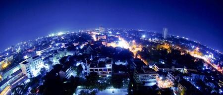 lighten: thailand night view from building fisheye lens