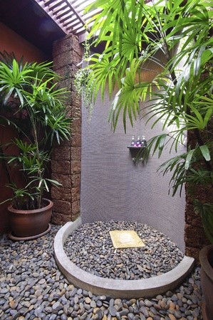 Shower room with stone on the floor photo
