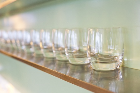 water glass on wooden rack Stock Photo - 15158236