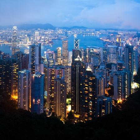 Hong Kong cityscape at night Stock Photo