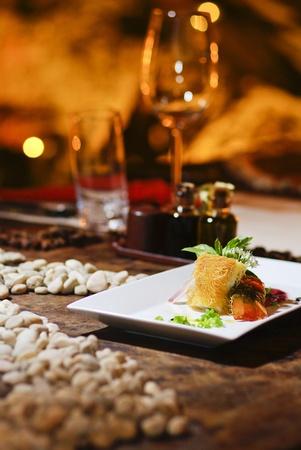phuket food: Romantic salmon steak dinner with red wine