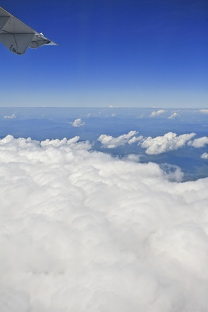 View of jet plane wing with cloud patterns photo