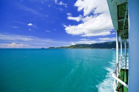 pristine corals: Sea and island on samui Thailand with window of boat Stock Photo
