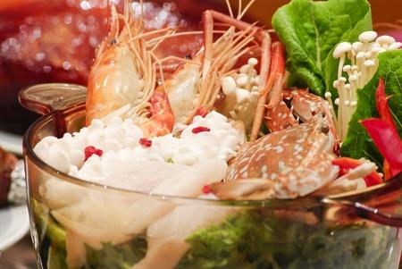 seafood soup: sukiyaki seafood soup, asian cuisine.