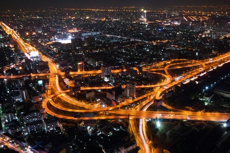 Bangkok Cityscape Expressway and Highway top view on evening, Thailand photo
