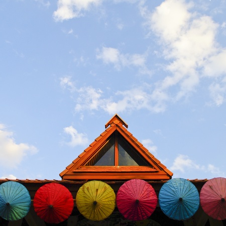 Roof house with colorful umbrella Stock Photo - 15153898