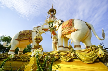 king of thailand: Elephant Stone Statue (Bangkok, Thailand) Stock Photo