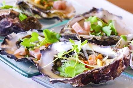 opened oyster food on dish Stock Photo