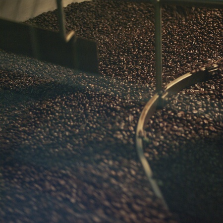 roasting: Coffee roaster machine Stock Photo