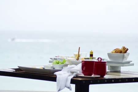 Morning breakfast near sea photo