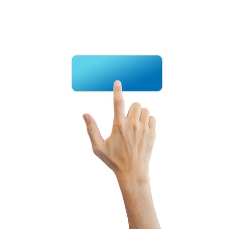 Blue blank button with real hand isolated on white background Stock Photo - 17886775