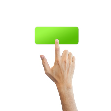 Green blank button with real hand isolated on white background Stock Photo - 17886774
