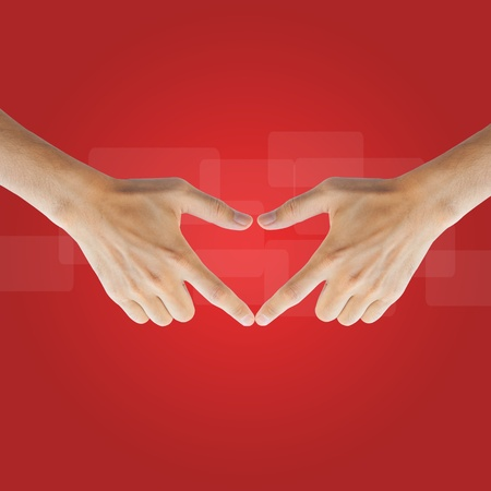 Love real hand on red background Stock Photo - 17886801