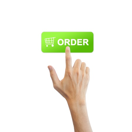 checkout button: Order button with real hand isolated on white background Stock Photo