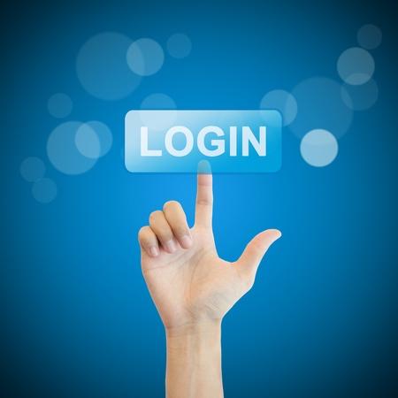 login button: Login. hand man pressing login button.
