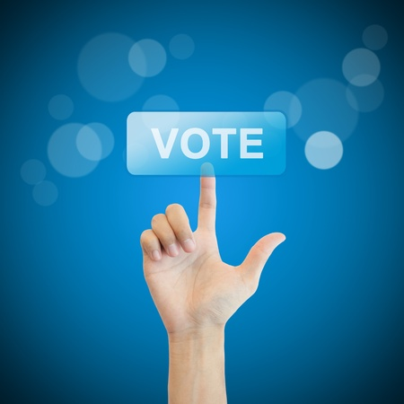 Vote. hand man pressing vote button. Stock Photo - 17886803