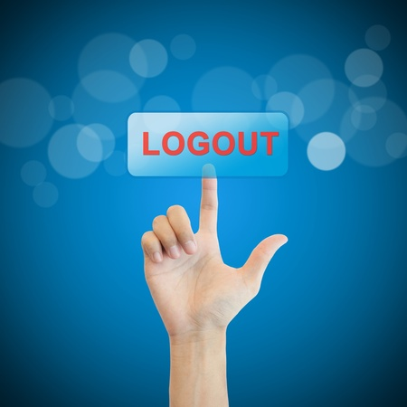 Logout. hand man pressing logout button.