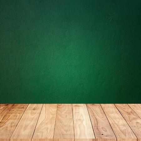decoracion mesas: Pared verde con madera piso de madera de textura de fondo Foto de archivo