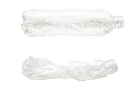 recycled water: Water plastic bottle full and flat
