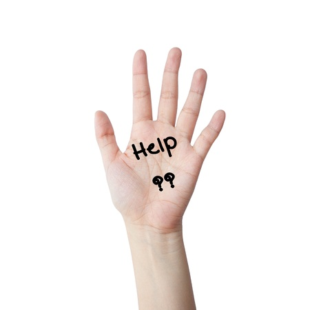 Hand with help text photo